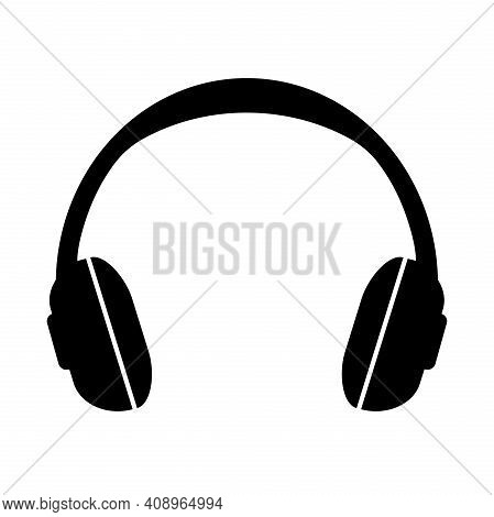 Simple Headphones Icon Or Symbol Isolated On White Vector Illustration
