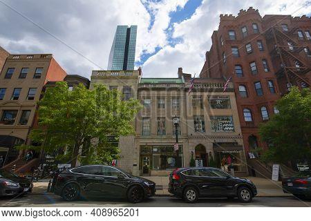 Boston - Aug. 28, 2020: Historic Commercial Buildings On 134, 136, 138, 140 Newbury Street With John