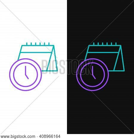 Line Calendar And Clock Icon Isolated On White And Black Background. Schedule, Appointment, Organize