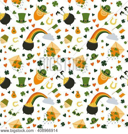St. Patrick's Day Seamless Pattern. Rainbow With Pot Of Gold Coins And Cloud, Leprechaun Hat, Irish