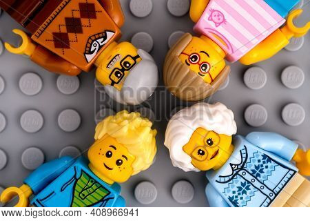 Tambov, Russian Federation - January 17, 2021 Four Lego Family Minifigures - Grandparents And Grandc