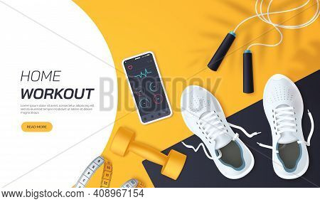 Home Workout Vector Illustration. Flat Lay Composition With White Sports Sneakers, Dumbbells, Skippi