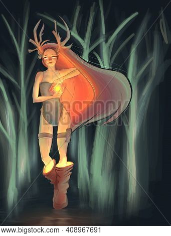 Magic Fantasy Character. Magic Forest. Deer-girl With Orange Hair. Illustration For Fantasy Books.