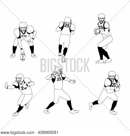 Black And White American Football Player Set Stock Illustration ,american Football Team Players In A