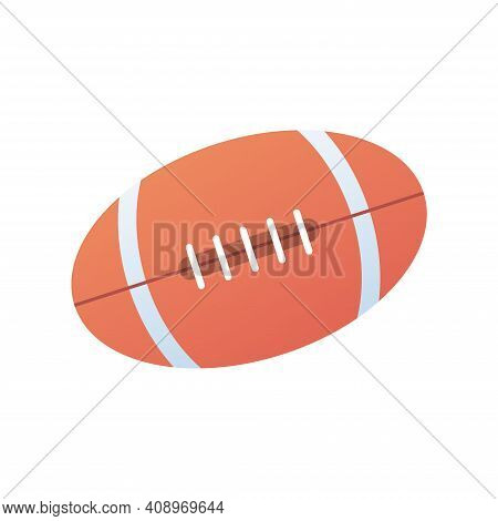 Rugby Ball Icon Design Isolated On White Background, American Football Vector Illustration
