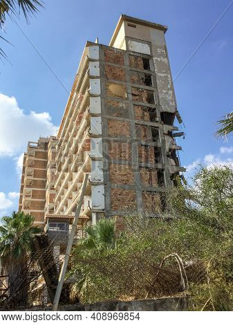 Famagusta, Cyprus - September 15 2016: Abandoned Hotels At Varosha Ghost Town, Famagusta, Northern C