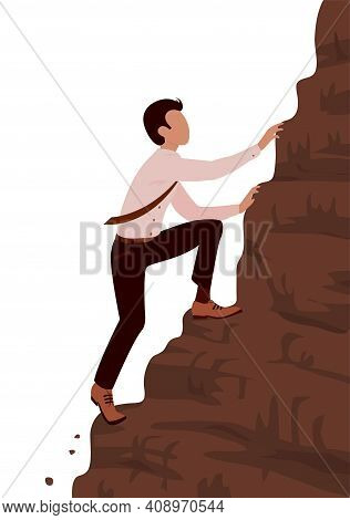 A Young Brave Business Man Climbs A Steep Mountain. Career And Effort Concept. Vector Cartoon Illust