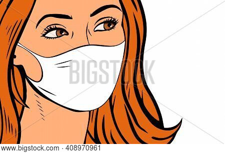 Female Face In A Medical Mask On A White Background. Lifestyle During Epidemic And Quarantine. Prote