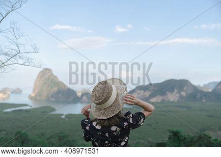 Samed Nang Chee. Woman With View Of The Phang Nga Bay, Mangrove Tree Forest And Hills At Andaman Sea