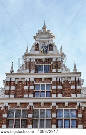 Deventer , Netherlands - Janauri 31, 2021: Dutch City Gable House With Shutter Windows And And Tower