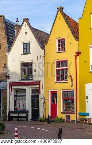 Deventer, Netherlands - January 31, 2021: Colorful Dutch Houses In Deventer In Overijssel, Netherlan