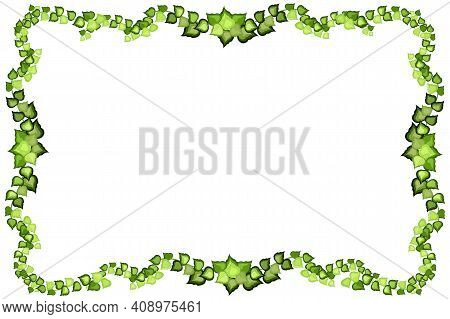 Green Vine, Liana Or Ivy Hanging From Above Or Climbing The Wall.
