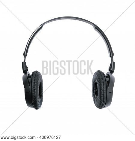 Isolated Modern Black Wireless Headphones In Close-up. Png File With Transparent Background.