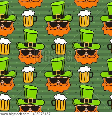 Seamless Pattern On The Theme Of St. Patrick's Day. Green Background With Hand Drawn Leprechaun And