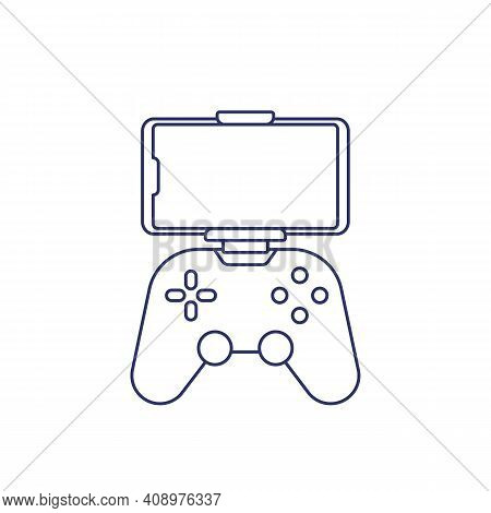 Gamepad For Smartphone Line Icon On White