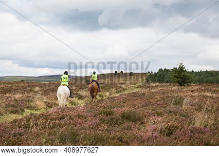 Shropshire, Uk - September 08, 2013. Two People Horseback Riding On Long Mynd, Shropshire Hills, Uk