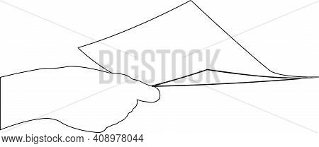 Hand Holds Sheet Of Paper Hand Holds Sheet Of Paper