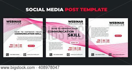 Social Media Post Template. Set Of Social Media Abstract Design. Webinar Invitation Banner With Red