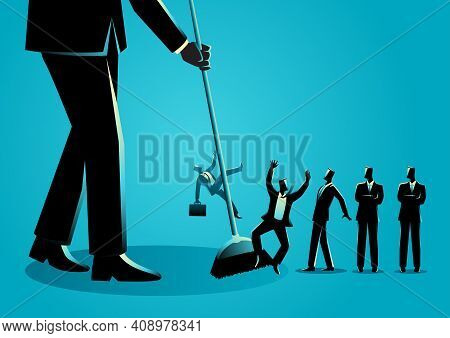 Business Concept Vector Illustration Of A Businessman Sweeping, Businessmen Being Swept By A Broom.
