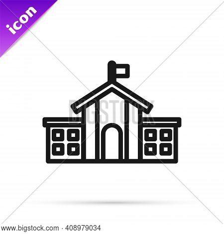 Black Line United States Capitol Congress Icon Isolated On White Background. Washington Dc, Usa. Vec