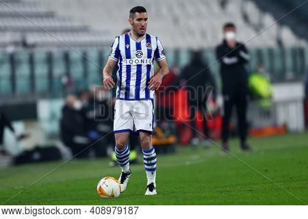 Torino, Italy. 18th February 2021. Joseba Zaldua Of Real Sociedad De Futbol  During  Uefa Europa Lea