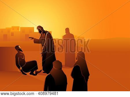 Biblical Vector Illustration Series, Jesus Heals The Man With Leprosy