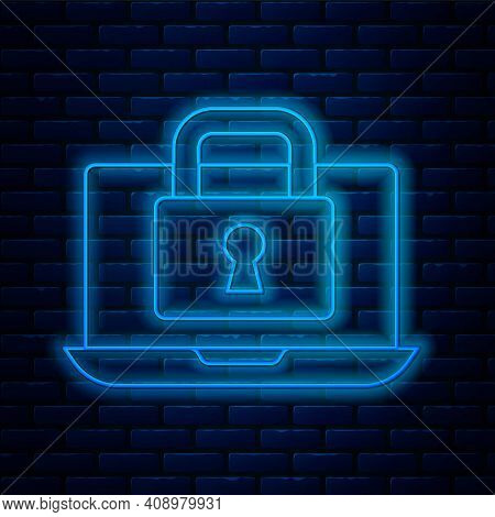 Glowing Neon Line Laptop And Lock Icon Isolated On Brick Wall Background. Computer And Padlock. Secu