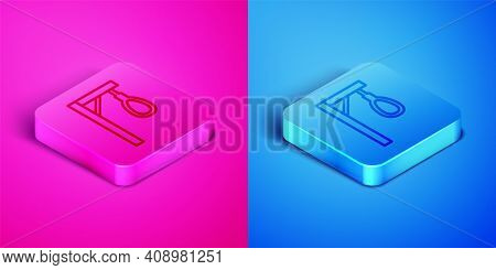 Isometric Line Gallows Rope Loop Hanging Icon Isolated On Pink And Blue Background. Rope Tied Into N