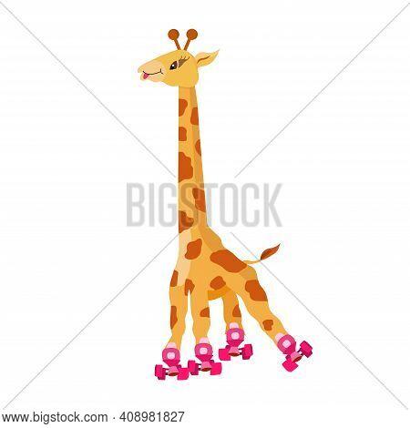 Funny Cartoon Roller-skating Giraffe On White Background. Cute Animal Giraffe Goes In For Sport. Gir