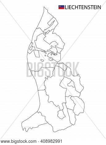 Liechtenstein Map, Black And White Detailed Outline Regions Of The Country.