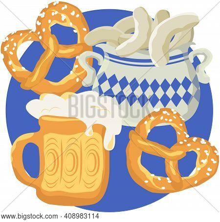 Oktoberfest Beer And Pretzels And Beer. Vector Illustration For Traditional Oktoberfest