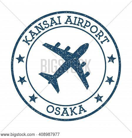 Kansai Airport Osaka Logo. Airport Stamp Vector Illustration. Osaka Aerodrome.