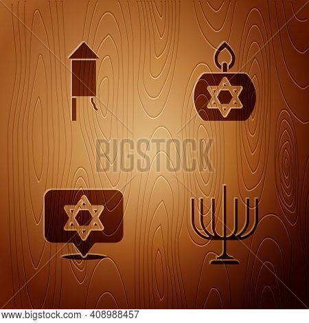 Set Hanukkah Menorah, Firework Rocket, Star Of David And Burning Candle On Wooden Background. Vector