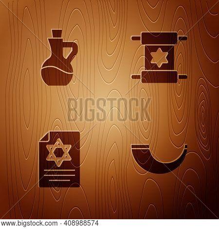 Set Traditional Ram Horn, Shofar, Bottle Olive Oil, Torah Scroll And On Wooden Background. Vector