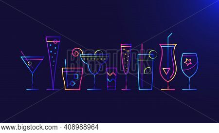 Cocktail Party Background. Vector Illustration Of Abstract Glowing Neon Colored Different Cocktail G