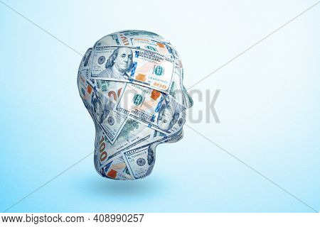 Human Head Made By 100 Dollar Banknotes. Idea To Earn Money. The Concept Of Money Addiction, Working