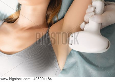 Laser Hair Removal, Close-up Of Armpit Hair Removal. Body Care. Underarm Laser Hair Removal. Laser E
