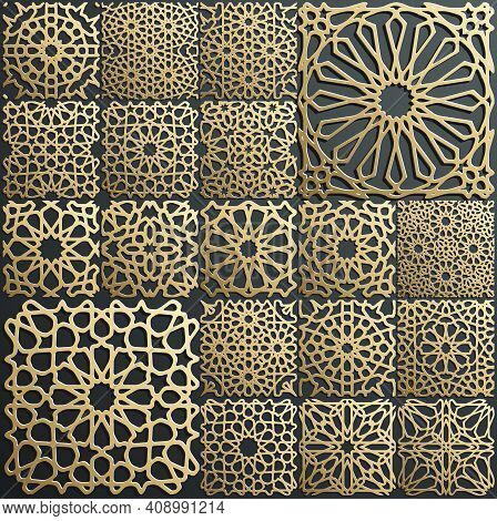Gold Ornament On Black. Islamic Pattern Set. Arabic Geometric Pattern Bundle, East Ornament, Indian