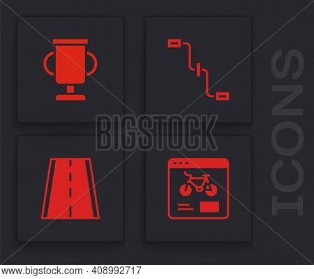 Set Bicycle Rental Mobile App, Award Cup With Bicycle, Pedals And Lane Icon. Vector