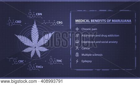 Medical Benefits Of Marijuana, Blue Poster With Digital Marijuana Leaf In Low Poly Style With Chemic
