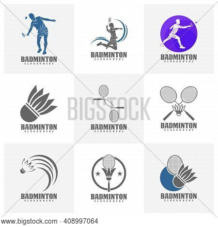 Set Of Professional Badminton Sports Team Championship Logo, Creative Badminton Design Concepts Temp