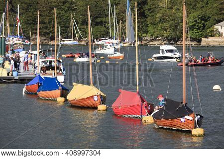 Fowey (england), Uk - August 19, 2015: Fowey Harbor, Cornwall, England, United Kingdom.