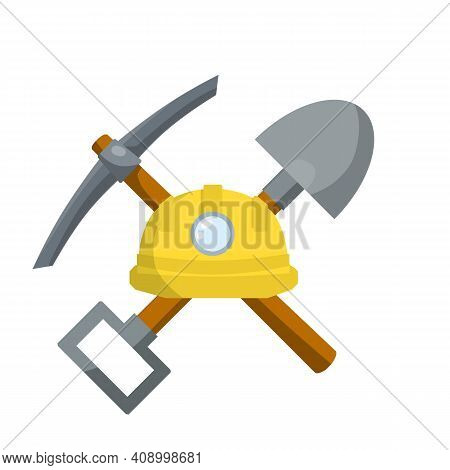 Pick And Shovel. Miner And Digger Tool. Items For Extraction Of Minerals. Rural Tool. Iron Pickaxe.