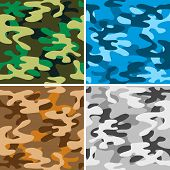 Set of four seamless camouflage backgrounds. This is file of EPS8 format. poster