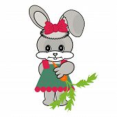 nice hare with carrot on white background poster