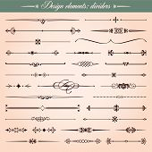 Set of vector calligraphic design elements and page decoration dividers and dashes poster