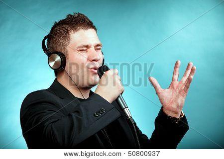 Man Singing Into Microphone Happy Karaoke Signer