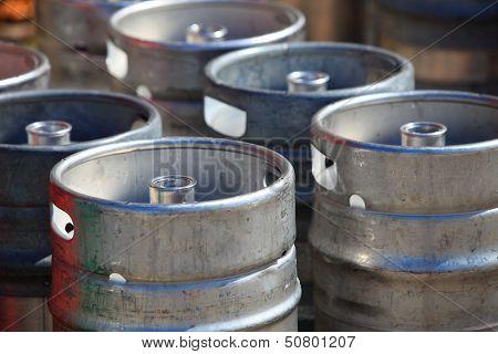 Lots Of Metal Barrels At A Beer Factory