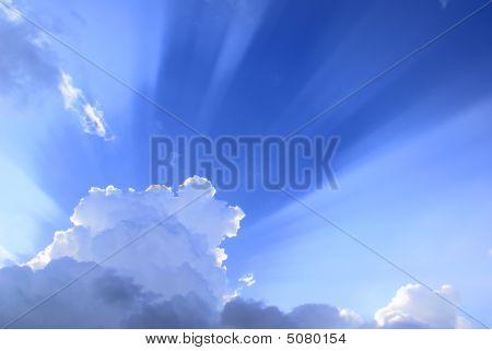 Sunburst Light Shining Over Clouds