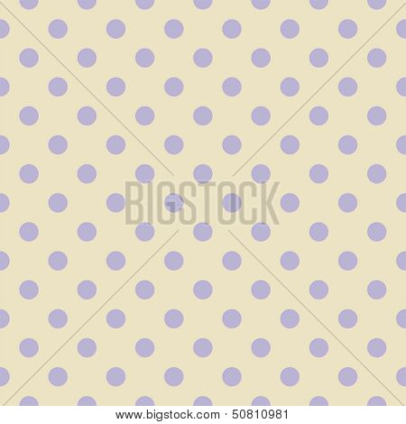 Retro seamless vector pattern or texture with big pastel blue violet polka dots on light beige poster